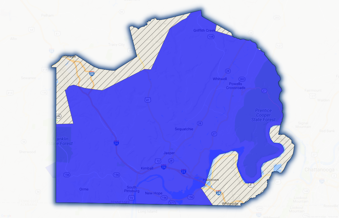 Map of Marion County service area for fiber broadband availability